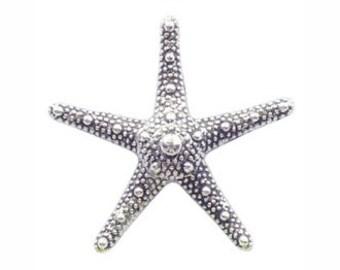 6 Silver Starfish Charm Pendant 35x37mm by TIJC SP0860