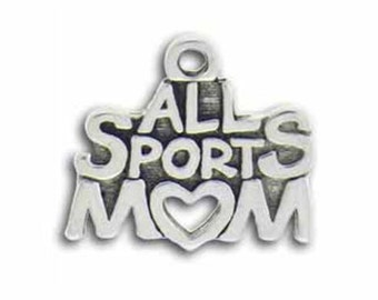 5 Silver All Sports Mom Charm use in Baseball Basketball, Volleyball, Football or Soccer Gifts 15x18mm by TIJC SP0457