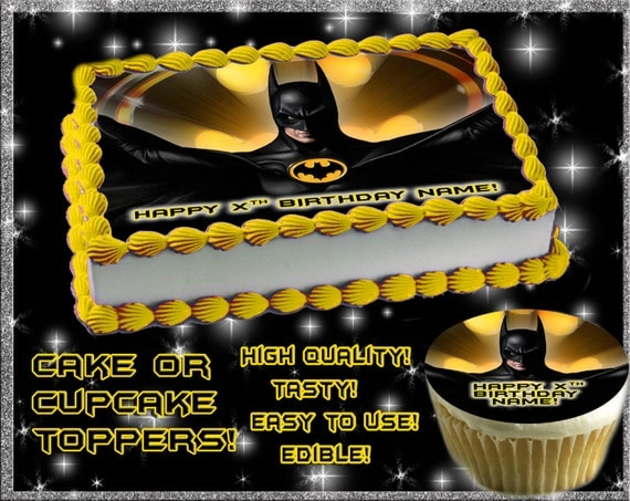 Personalized Batman Cake topper or cupcakes by Pictures4Cakes