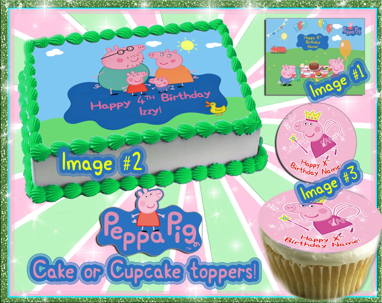Peppa Pig edible cake or cupcake toppers by Pictures4Cakes ...