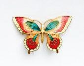 vintage enamelled butterfly brooch 1.5 x 1 inches pink blue cream gold vintage cloisonne enamel circa 1960