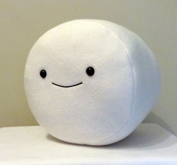 Items similar to LARGE Marshmallow with embroidered smile ...