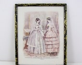 Framed Art Print Godey's Unrivalled Colored Fashions 1851 Bride Wedding Dress