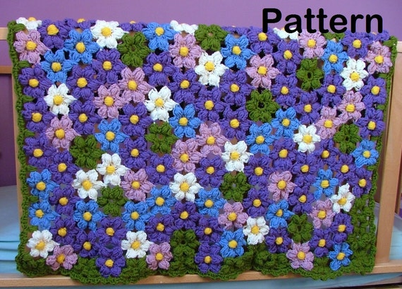 Crochet Pattern-Baby Violet Flower Blanket Crochet Pattern-Crochet Flowers Afghan Pattern/Newborn/Baby/Girls/Toddler