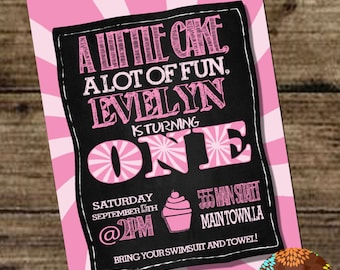 1st Birthday Girl  - Chalkboard and Cupcake theme- 1st birthday party theme, Generic 1st Birthday Party Theme/Invitation