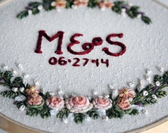 Initials, Floral Embroidery Hoop