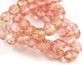 Pink - Gold Dust 8mm Facet Fire Polished Czech Glass Beads 20pc #1957