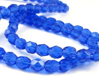 Blue Sapphire 5mm Facet Round Czech Glass Fire Polished Beads  #1915