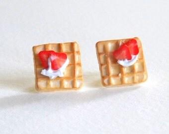 Strawberry Waffle Studs, Miniature Food Jewelry, Hypoallergenic, Metal Free Earrings, Plastic Posts