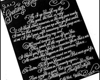 Custom Calligraphy Letter- Elegant flourished handwritten letter
