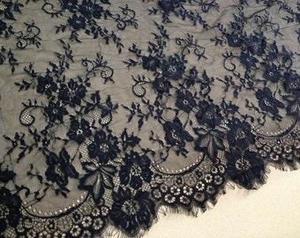 "3 Yards*25.6"" wide Chantilly Lace Fabric, Black Scalloped Floral Lace Trim, Bridal Wedding Lace Fabric, Black Eyelash Lace"
