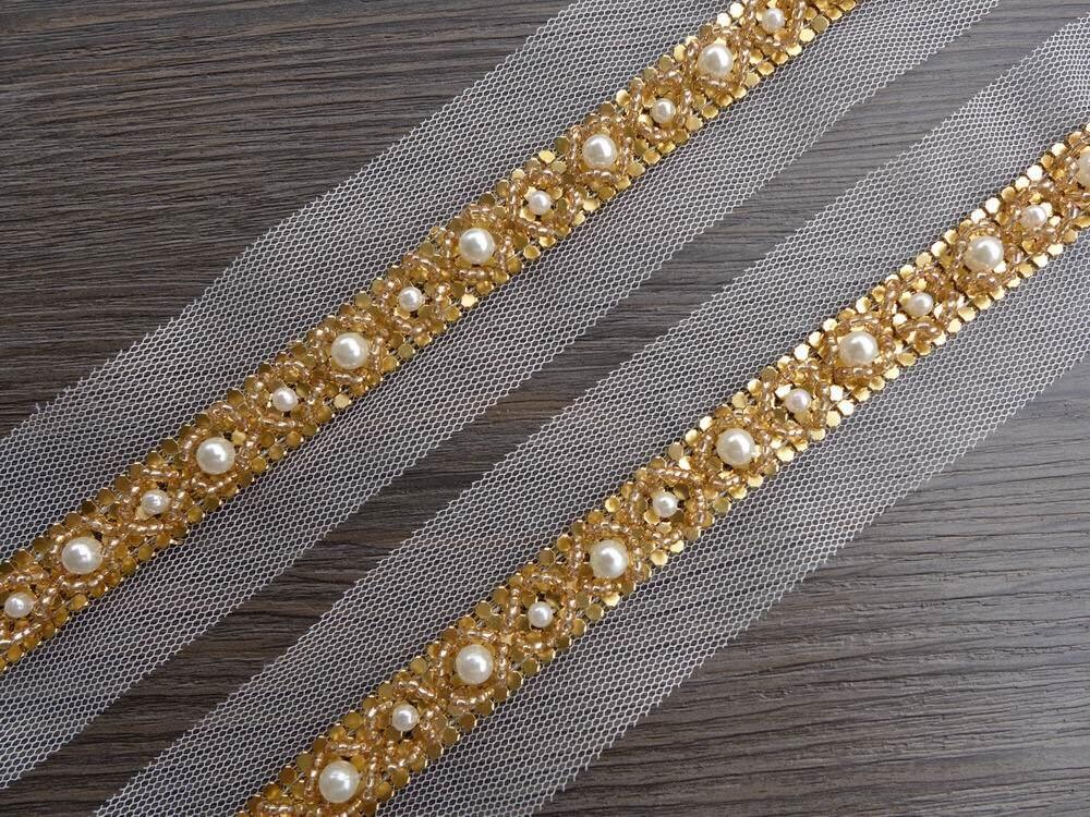 wedding beaded trim gold pearl lace trim bridal belt trim