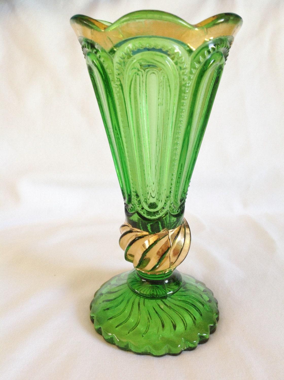 Eapg Green Color Glass Vase Antique