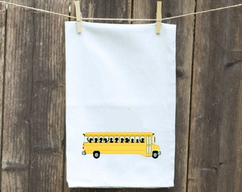 School Bus Flour Sack Kitchen Towel-Tea-Dish-Hand-Kitchen Towel Funny-Yellow School Bus, Customize it With Your Hometown or High School