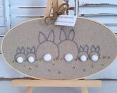 """Family Tree Embroidery Hoop, One Of A Kind, 9"""" Oval Wood Hoop, Bunny Family, Hand Drawn, Hand Stitched, Linen Fabric, Cotton Flosses"""