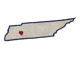 U.S. State outline appliqué design in several different styles and sizes.  You pick one state & get 1 free. (e.g. buy Tennessee - get Texas)