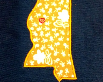 Mississippi appliqué and embroidery design in 7 styles and sizes.  Buy this state (Mississippi)  -  get any state free