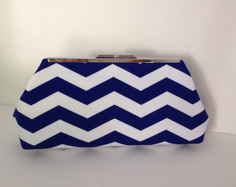Royal Blue and White Chevron Clutch Purse with Silver Finish Snap Close Frame