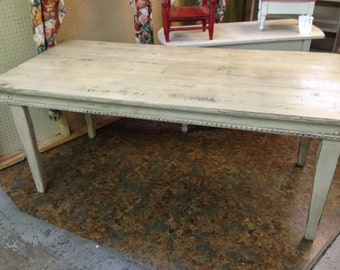 DEPOSIT LISTING for Distressed White Paint Farm Table---Farm Table Made to Order-Deposit Listing