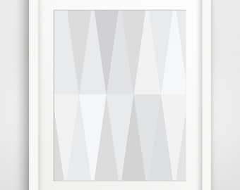 White Geometric Print Art, White Geometric Wall Prints, Minimalist White Home Decor, White and Grey Wall Prints, Geometric Printable Art