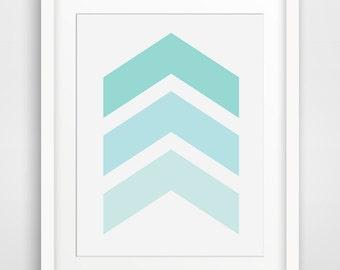 Turquoise Art, Chevron Prints, Blue Wall Art, Blue Geometric, Turquoise Wall Prints, Chevron Art, Blue Nursery Art, Printable, Digital Art
