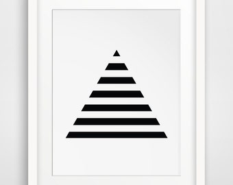 Stripe Art, Minimalist Prints, Geometric Print Art, Triangles, Black Geometric, Minimalist Print Art, Black and White Stripes, Pyramid Art