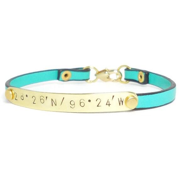Personalized LATITUDE & LONGITUDE Gold and Leather Bracelet, Hand Stamped, Engraved Bracelet, Gold Bracelet, Leather Bracelet, Monogrammed