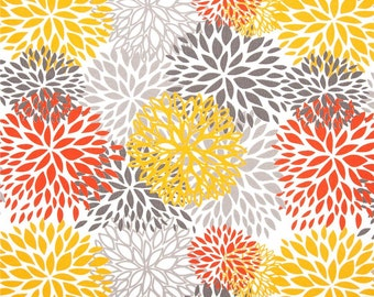 Premier Prints Blooms Citrus Outdoor Fabric - Citrus Yellow, Orange, Grey - Fabric by the  yard
