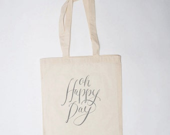 Wedding Welcome Bag (10), Canvas Tote, Oh Happy Day Bag, Wedding Guest Bag, Wedding Gift Bag, Wedding Hotel Bag, Wedding Favor Bag