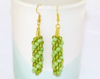Lime green Kumihimo earrings, lime green beaded drop earrings on gold-plated ear-wires