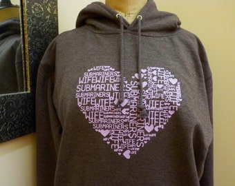 Submariner Wife Heart Design Hoodie or T-Shirt