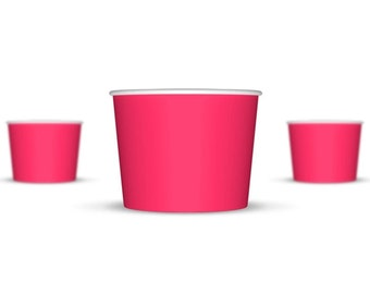 50 8 oz Pink Paper Ice Cream Cups