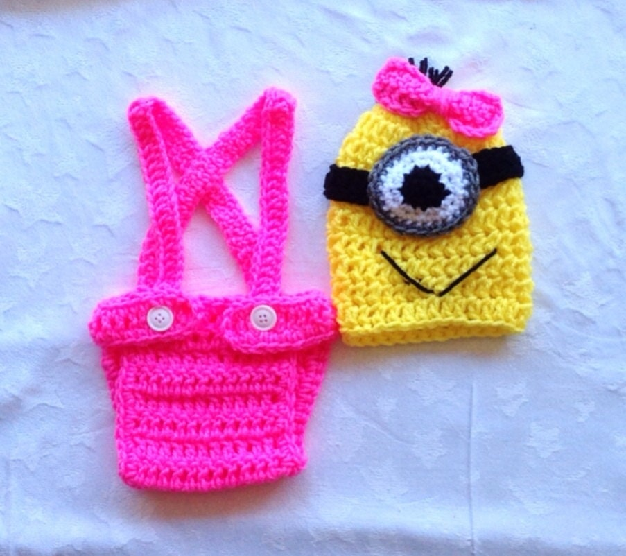 Crochet Patterns For Baby Overalls : Minion Birthday Outfit. Baby Girl Crochet Minion by ...
