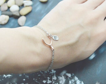 Double layered rose gold wishbone bracelet, Add on initial leaves, Rose and white gold plated C-041