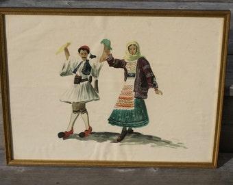 """Vintage Water Color, """"Folk Dancers"""""""