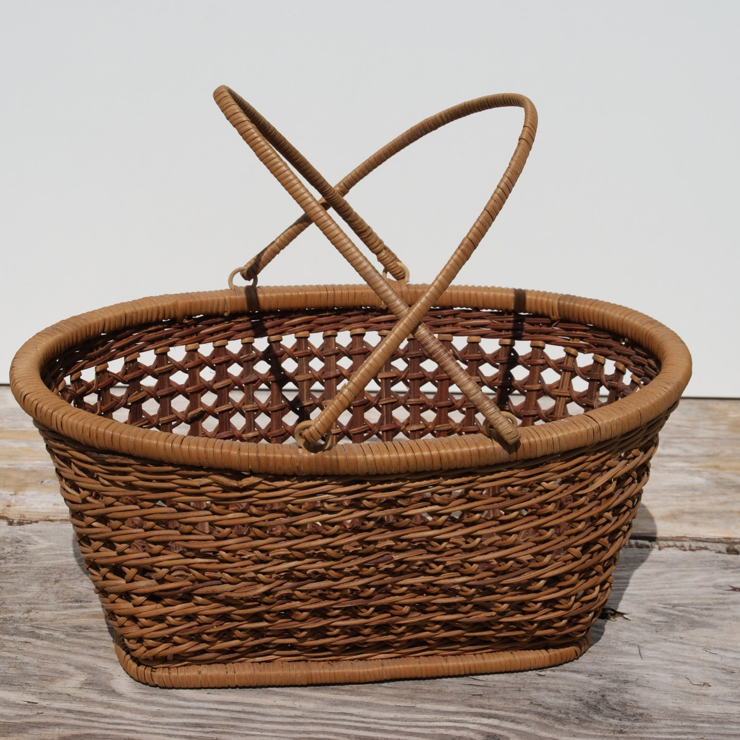 Knitting Basket With Handles : Vintage wicker gathering basket knitting by beachlanevintage