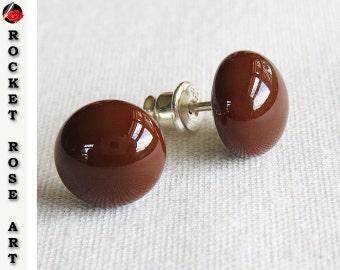 Woodland Brown Stud Earrings Sterling Silver 9mm -10mm Fused Glass Cabochon Modern Minimalist Post Earrings Chocolate Brown