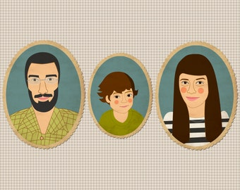 Custom family portrait of 3 person. Portrait from photo. Portraiture. Cartoon portraits. Family Illustration.