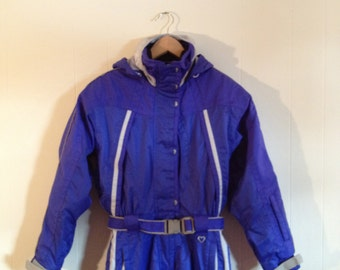 Vintage Ski Suit Jacket / Downhill Ski Racing / Vivid Purple One Piece Snowsuit  1990s /  Schoeller Switzerland Skier