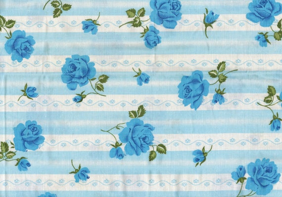 Set of 2 shabby chic style blue roses and stripes print cotton fabric pillow cases covers - French 60s vintage