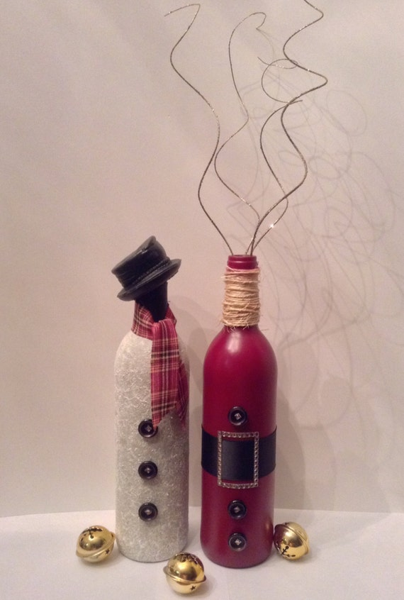 Wine bottle christmas decor frosty and santa by for Christmas bottle decorations