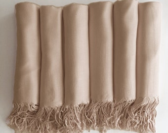 Pashmina shawl in Champagne-Light Gold - Bridesmaid Gift, Wedding Favor - Monogrammable