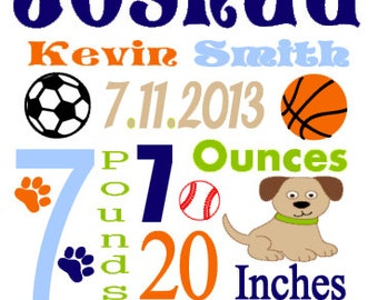 Personalized Baby Birth Annoucement Stat Wall Art Boy Bow Wow Buddies Sports Name Bedding