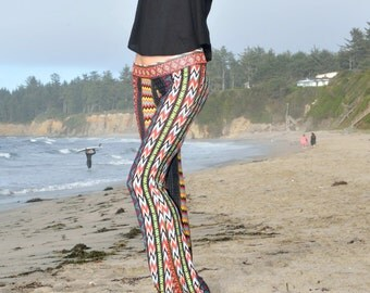 AZTEC TRIBAL  70's chevron flare leg bell bottom fashion gypsy hippie retro festival yoga beach lounge pants