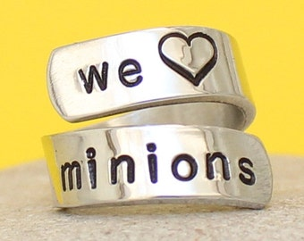 We Love Minions - Personalized Wrapped Ring - Silver Ring - Hand Stamped Ring