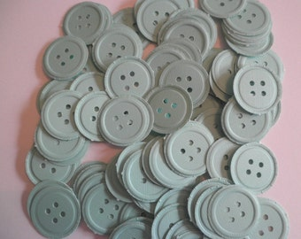 100 Mint Green embossed button die cuts PB5-perfect for confetti, scrapbooking, cards, showers, embellishments