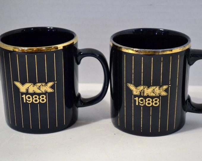 Vintage Coffee Mug Cup Set of 2 Navy Blue Gold YKK 1988 Kiln Craft England PanchosPorch