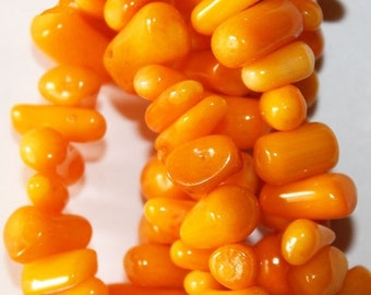 """Gorgeous Orange Coral Sticks - approx. 11 mm wide - Full Strand 16"""""""