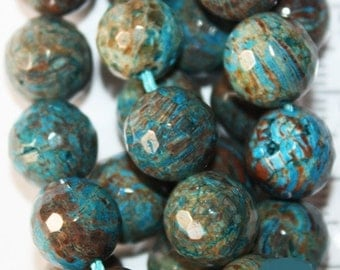 "Faceted Flower Agate Beads - Round 10 mm Gemstone Beads - Full Strand 16"", 39 beads"