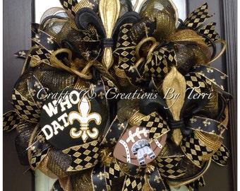 SAINTS Wreath - Saints Football Wreath - Fleur de Lis Wreath - Deco Mesh Wreath - Door Decor - Made To Order